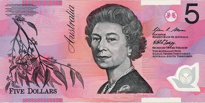 The signature side of the new $5 banknote featuring a portrait of Queen Elizabeth II.